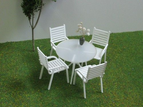 4 Seater Patio Set 1:12 scale,DOLLHOUSE-,Garden Furniture,Accessory,CHAIR+TABLE