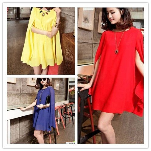 Summer candy color female batwing sleeve top o-neck mantissas chiffon cloak one-piece dress sun protection shirt $16.17