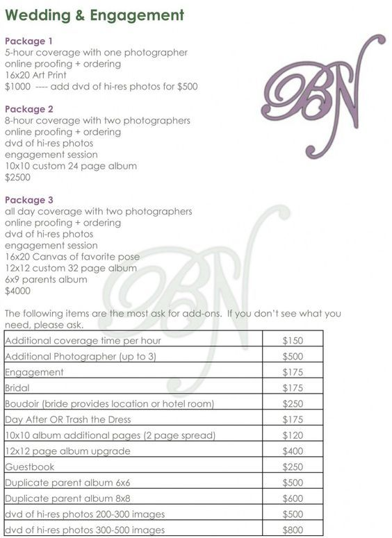 Wedding Photography Checklist Template Atlanta wedding - wedding price list