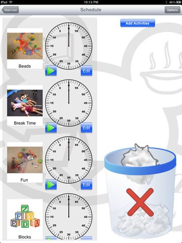 Time This! for iPad ($5.99) Fully customizable to fit your needs –   Easy to create and change schedules within seconds.   Clock, Hourglass or Digital timer look to choose from.  Notes section for each person on the schedule.  Take your own pictures to put in the schedule and add your own voice!!!  Allows for multiple persons with multiple schedules.