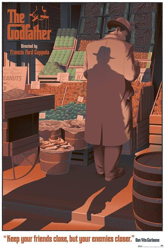 The Godfather - movie poster - Laurent Dureiux << those oranges!!!