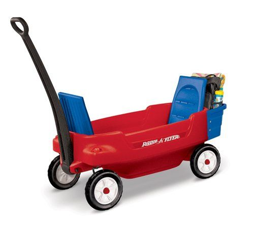 $129.99 Radio Flyer Excursion Wagon. Features Features convertible seats that fold up for comfortable ride and fold down for maximum hauling capacity Child seat belts are included for safety, a super-large storage compartment holds drinks and/or snacks, and 4 molded-in cup holders accommodate cans, cups or juice boxes The extra-long handle allows for easy pulling and folds under for easy storage, the front axles are designed for no-tip turning, and Dura-Tred real rubber tires offer durabilit