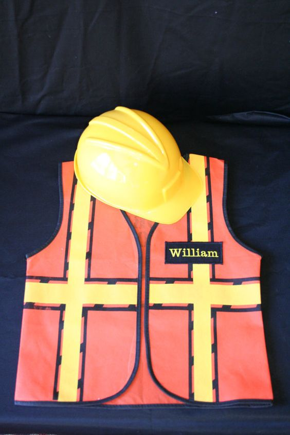 Personalized Children's Construction Vest and by EmbroideryMark