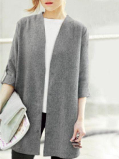 Grey Open Front Plus Coat -SheIn(Sheinside):