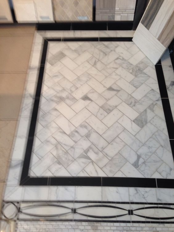 Marble tile floor with black border stone tile floors for Big black floor tiles