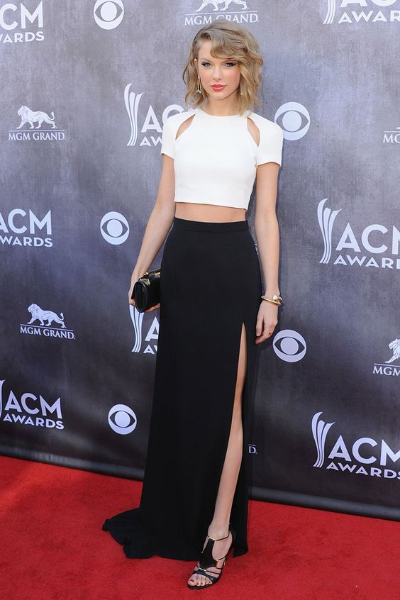 Taylor Swift Black and White Two-piece Celebrity Long Formal Dress ACM 2014: