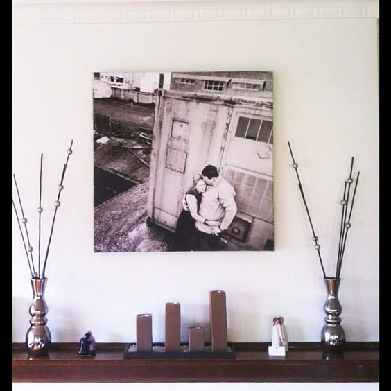 Carla and Brock's canvas above the fireplace