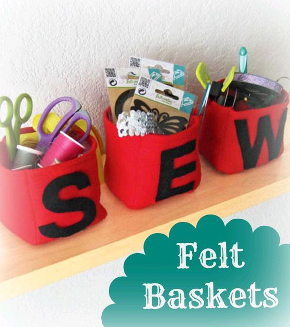 #Sew up some felt baskets -- perfect to organize sewing supplies, thread, ribbon, or other items :): Sewing Room, Felt Projects, Sewing Projects, Color, Craftroom, Sewing Clothing Projects, Kids Toys