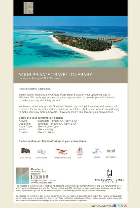 Hotel Pre Arrival Confirmation Email Templates » Guestfolio - confirmation email template