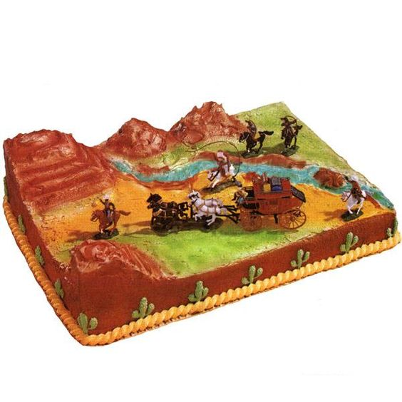 The Wild, Wild West Cake - if you're not an experienced cake decorator, you could take some shortcuts with this and it would be really easy. Skip the terracing on top and the icing rope and cactus on the side. Just use blue, green, gold and brown sugar sprinkles on the top for the terrain and place plastic horses and cowboys on top.
