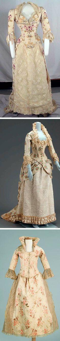 Top: Worth, 1874. Cornell Univ. Middle: American, 1880. Museum of Fine Arts, Boston. Bottom: American child's dress, ca. 1885. Metropolitan Museum of Art.