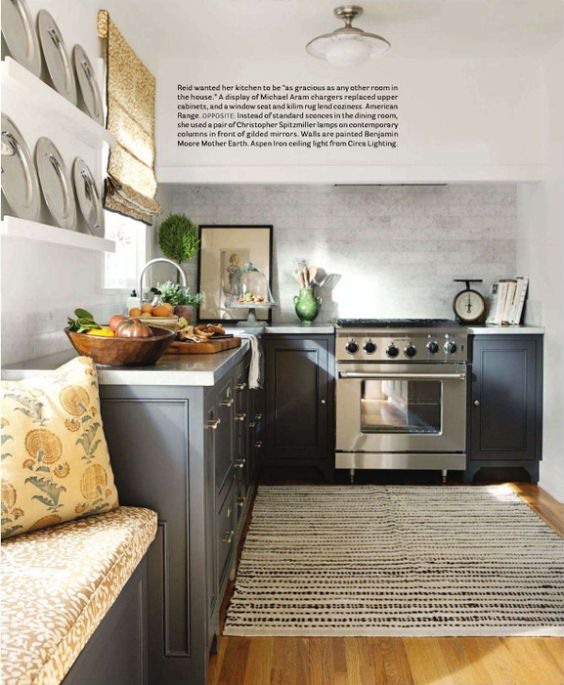 Grey kitchen by Lindsay Reid has warm textiles from Quadrille and kilim rug