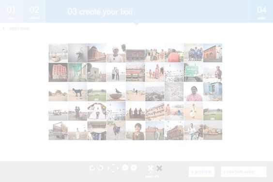 Create your ixxi - ixxi, photo collage (sections or enlarged pixels)