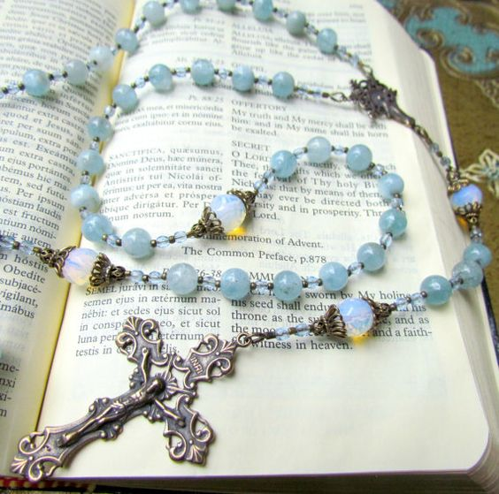 Blue Catholic Rosary for Women with Aquamarine by GracefulRosaries, $119.00