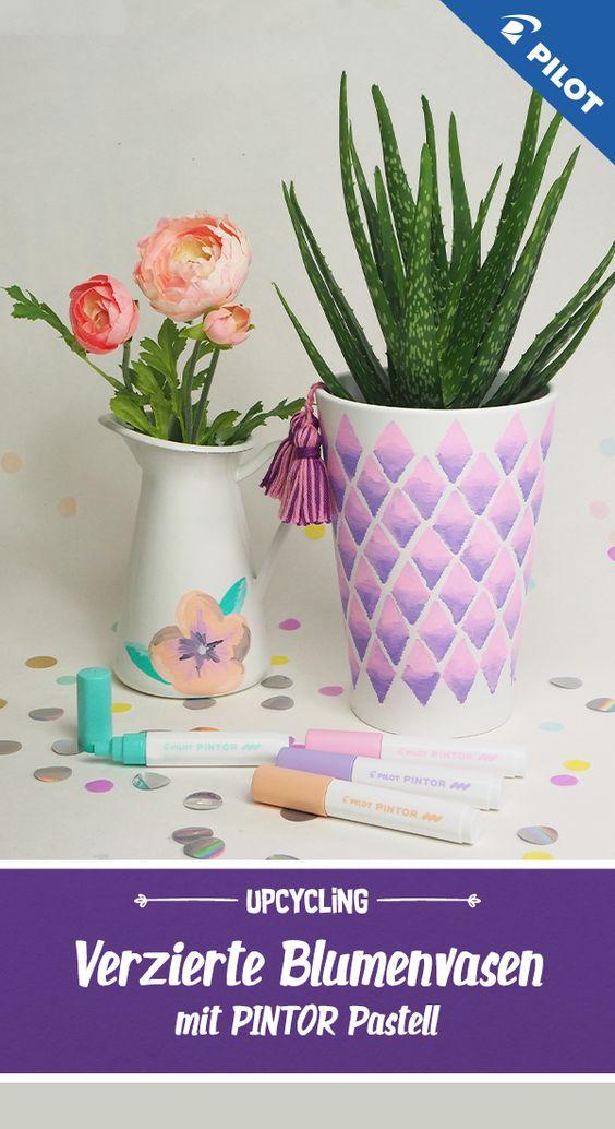 Blumenvasen Upcycling Mit Pintor Pastell In 2020 Blumen Vase Blumenvase Pastell