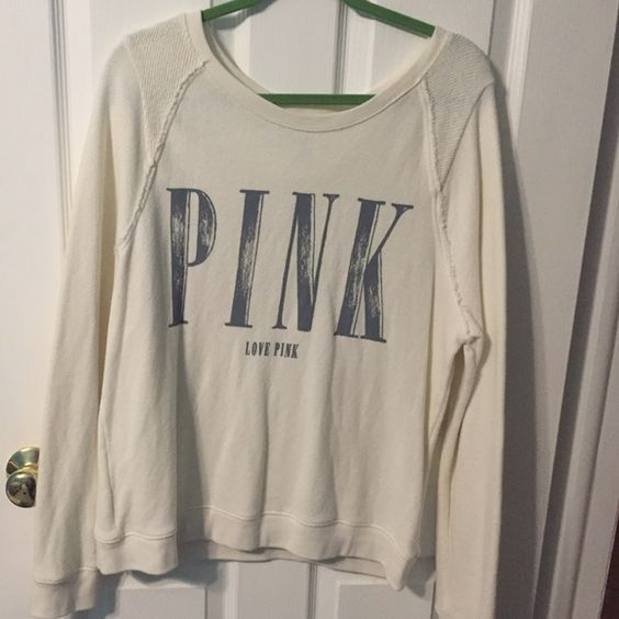 Off White Victoria Secret Sweatshirt. Worn a few times, but in great condition. Very comfortable. NO TRADES. PINK Victoria's Secret Tops Sweatshirts & Hoodies