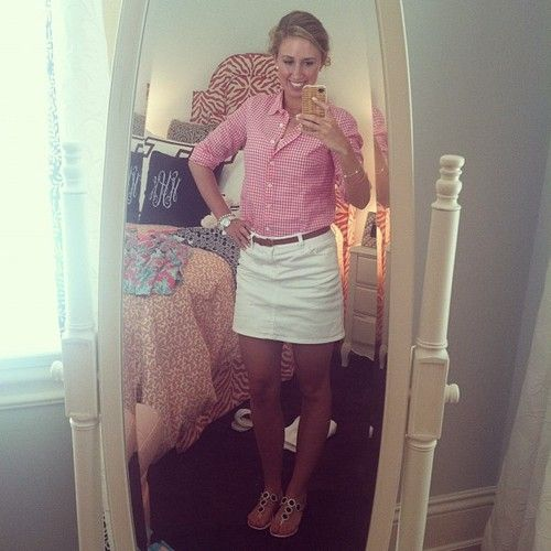 Shirt: J. Crew, Skirt: J. Crew, Belt: J. Crew, Shoes: Lilly Pulitzer
