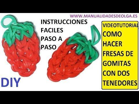 Como hacer una fresa de gomitas ligas charms con dos - Como hacer zumo de fresa ...