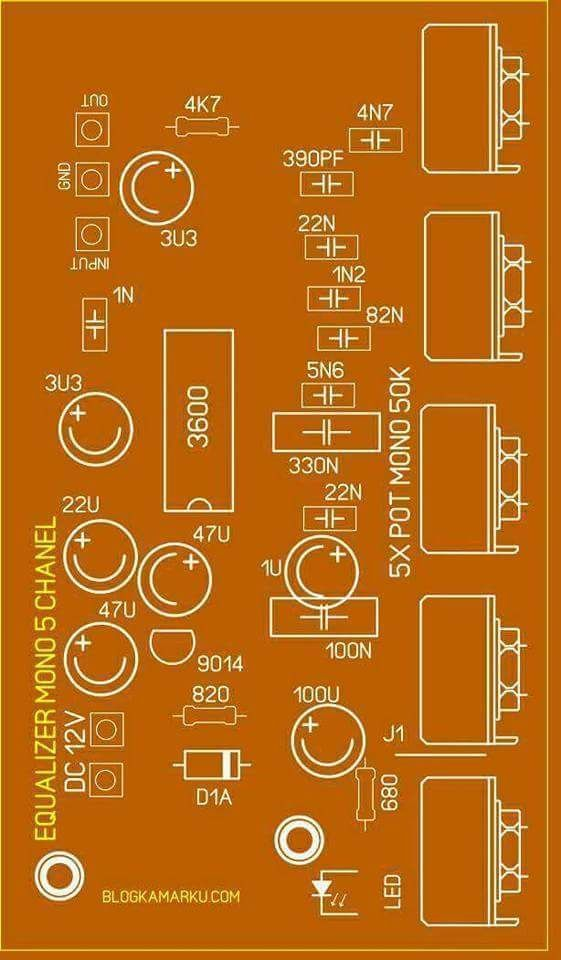 Pcb Equalizer 5 Channel Electronics Circuit Equalizer Circuit Board Design
