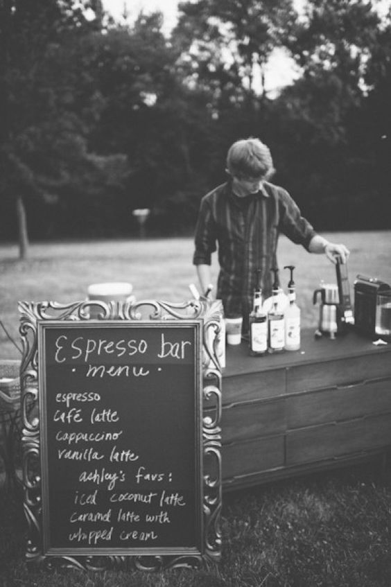 Espresso bar. {At the wedding} ... adding this to the dessert station could be fun