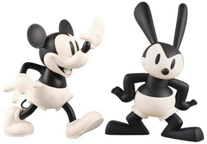 Mickey Mouse & Oswald The Lucky Rabbit 2 Pack - VCD No.97 figure by Disney, produced by Medicom Toy. Front view.