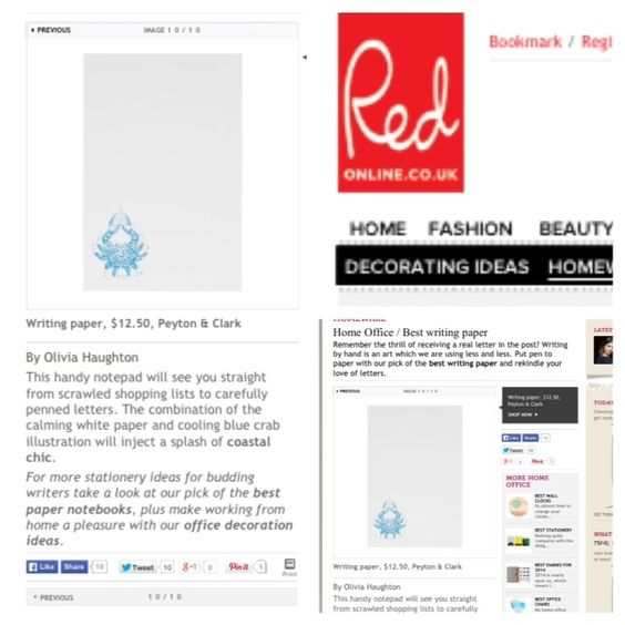 """Redonline.co.uk - by Olivia Haughton, """"This handy notepad will see you straight from scrawled shopping lists to carefully penned letters. The combination of the calming white paper and cooling blue crab illustration will inject a splash of coastal chic."""""""