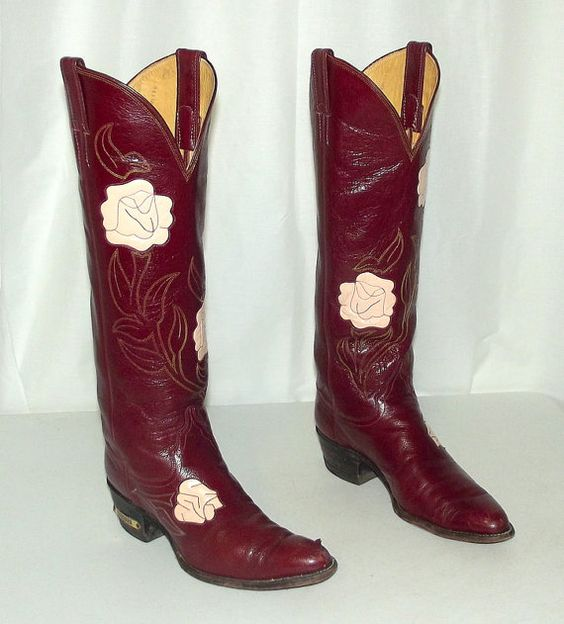 Vintage Tall Womens Cowboy Boots - Pink Roses - Burgundy Wine