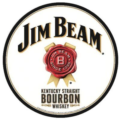 Hillman Aluminum Jim Beam Sign Jim Beam Kentucky Straight Bourbon Whiskey Straight Bourbon Whiskey