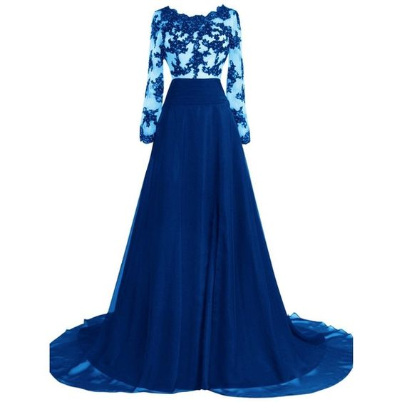 Duraplast Women's Evening Dress with Sleeve Long Formal Gown Beading... (€120) ❤ liked on Polyvore featuring dresses, gowns, blue ball gown, blue gown, formal evening gowns, long formal evening gowns and blue formal dresses