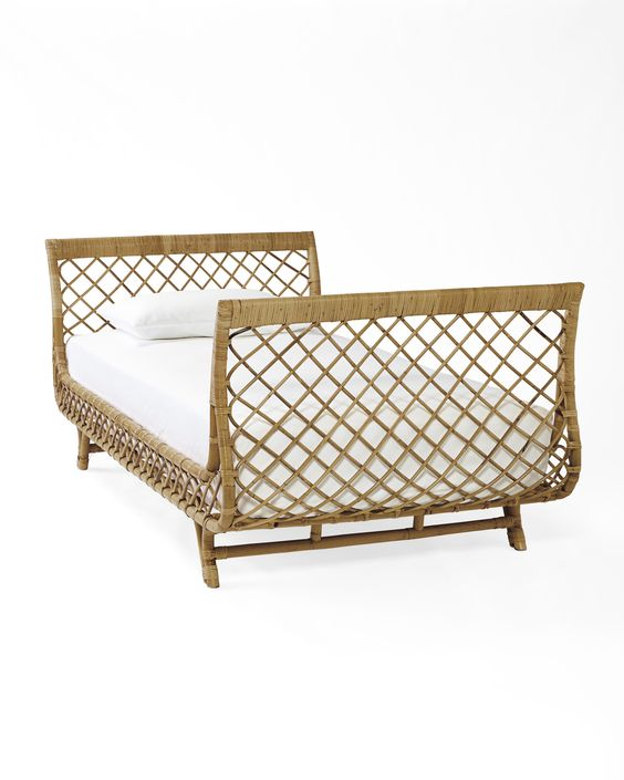 Daybed dreamboat! A bed that beckons for naps, daydreams, and lazy afternoons. Beautifully made of rattan, it brings an airy, natural beauty to the room. The original inspiration? A French sofa from the 40s our designers found on their travels.