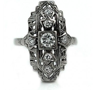 Platinum Diamond Art Deco  Dinner Ring #weddings