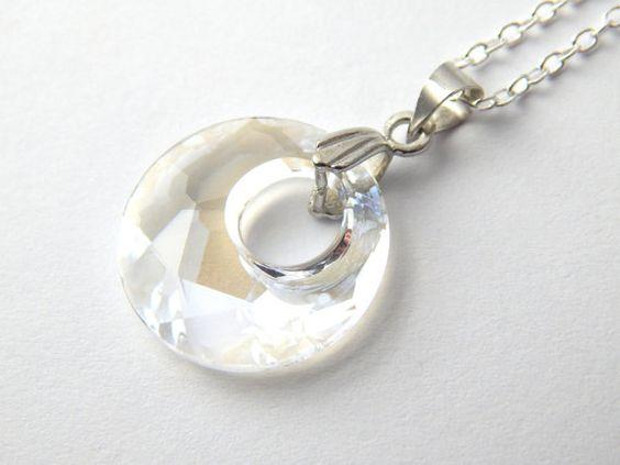 White Swarovski Victory Necklace  Moonlight by BitsAndBojangles