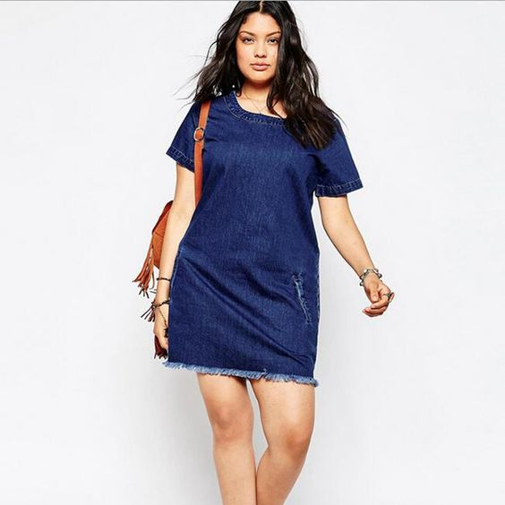 Denim Dress 2016 Summer Causal O-Neck Short Sleeve Jeans Tassel MiNi Straight Dresses Vintage Plus Size Femme Vestidos DR181: