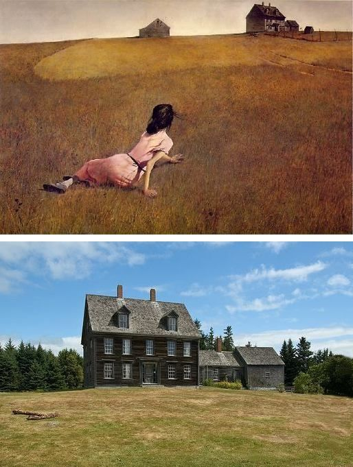 Christina's World ~ artist Andrew Wyeth, c.1948; oil on canvas.  Metropolitan Museum of Modern Art, New York.  It's said that Wyeth was inspired to create this painting when he saw the disabled Christina Olson crawling across a field from a third-floor bedroom window of the Olson house. The location of the home is Cushing, Maine. It's on the Nat'l Register of Historic Places, and is now owned by the Farnsworth Museum in nearby Rockland.  Tours of the house are available.