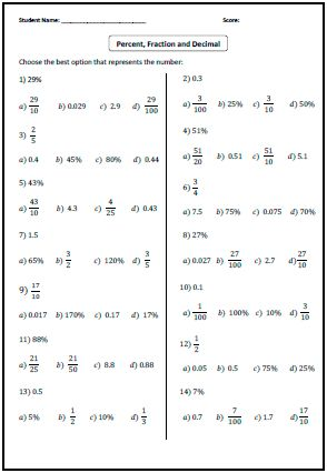 math worksheet : multiple choice decimal and fractions on pinterest : Percent To Fraction Worksheet