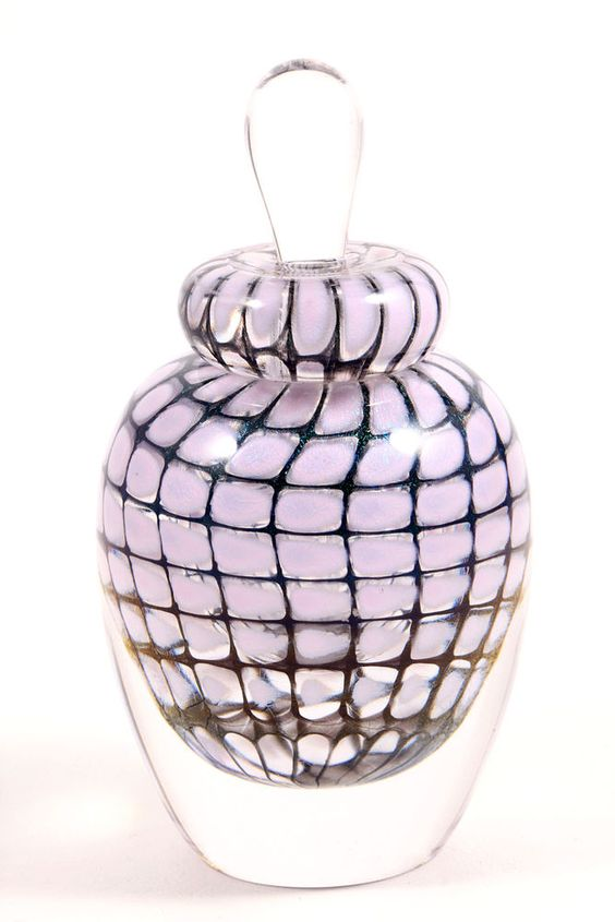 Tom Philabaum Signed Blown Art Glass Paperweight Style Perfume Bottle 2001