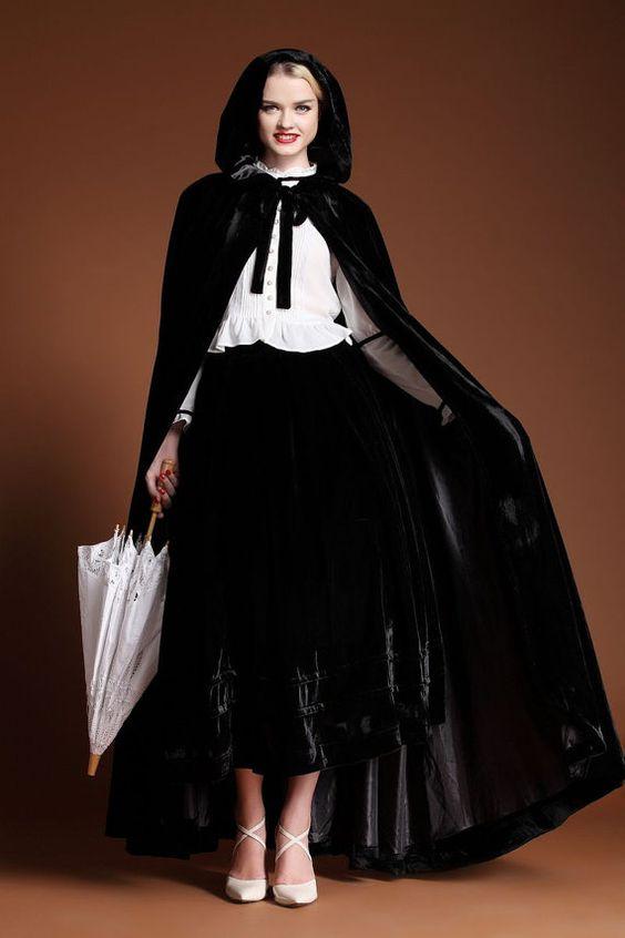 maxi winter coats for women | black hooded cape maxi hooded cloak