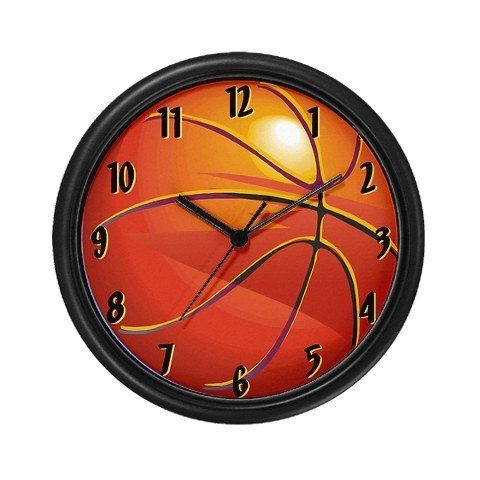 """Lightweight Plastic Framed Basketball Room Decor Wall Clock, 10"""" by Island Vintage. $23.99. Lightweight black plastic frame/case. Removable image insert. Decorate any room in your home or office with our 10 inch wall clock. Black plastic case. Requires 1 AA battery."""