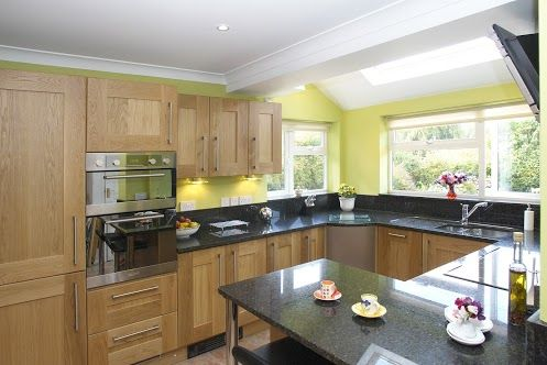 Ubatuba Granite Worktops Oak Cupboards And Bright Yellow