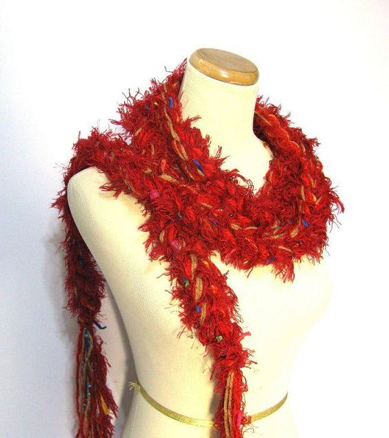 Red Crochet Chain Scarf by ArlenesBoutique on Etsy, $20.00