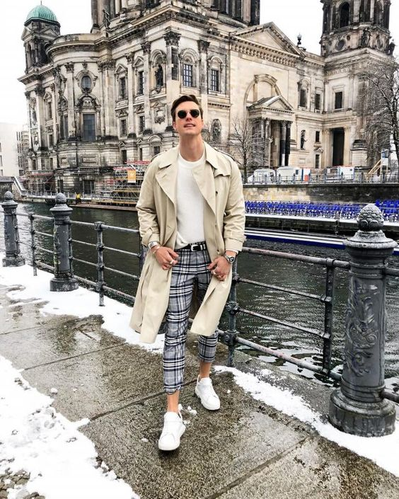 6 Best Men Trench Coats This Winter. Beige trench coat, white sweater, checked pants, white sneaker 1. Click image to view more. #men #mensoutfits #UrbanMenOutfits #mensfashion #mensguides #menswear #menstreetstyle #streetstyle #ootd #winter #winterfashion #wintermensfashion #trench #trenchcoat #winteroutfits