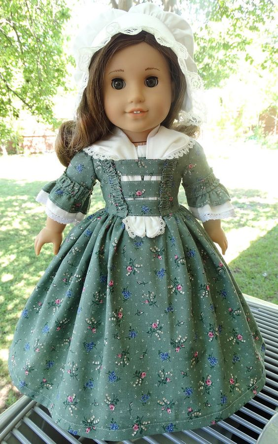 Colonial Gown, Cap, Fichu & Slip for AG dolls by Designed4Dolls on Etsy  $36.95