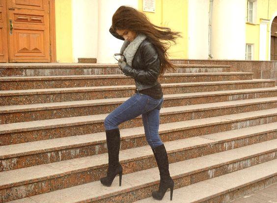 Fall Outfit - Black Leather Jacket and Knee High Boots - Skinny Jeans - Scarf