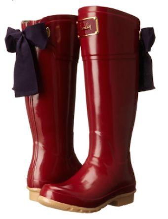pretty bow tie rain boots
