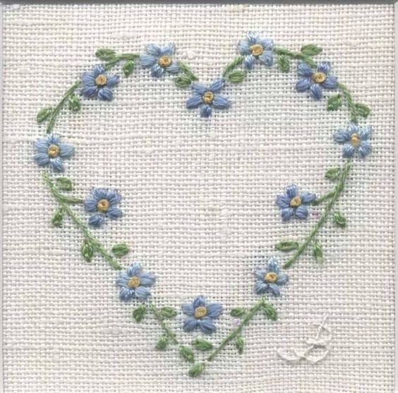 Embroidered heart simple st and many more