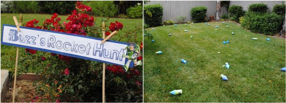 """buzz's rocket hunt: he wanted to hunt for rockets and so we made them out of pool noodles.  every kid could """"find"""" one and then decorate it with the other items they found on the hunt."""