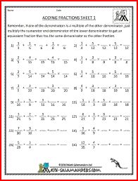 math worksheet : adding fractions 1 5th grade fraction worksheets  grace  : Adding And Subtracting Fractions Worksheets