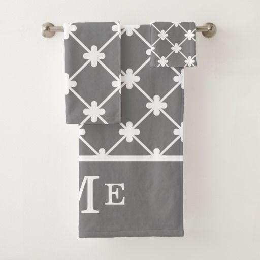 Monogram Gray White Geometric Pattern Editable Bath Towel Set Personalized Bath Towels Bath Towel Sets Towel Set