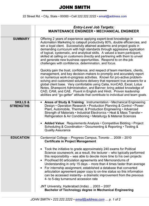 Mechanical Design Engineer Resume High Quality Maintenance Or Mechanical Engineer Re Engineering Resume Engineering Resume Templates Mechanical Engineer Resume