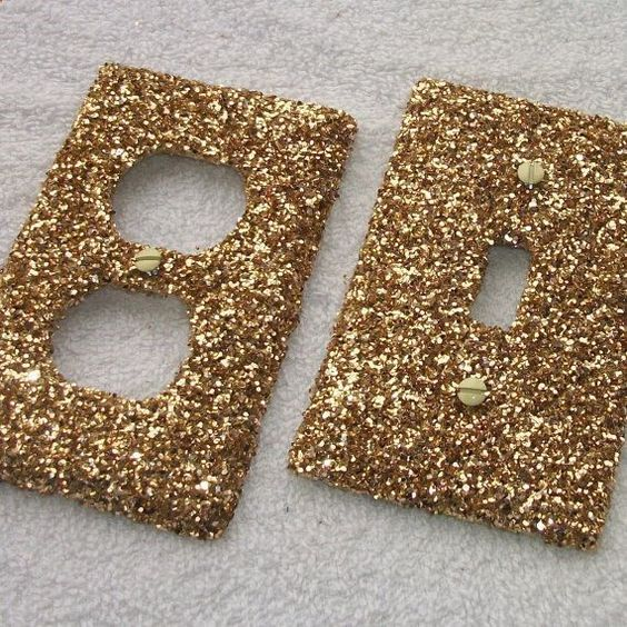 Gold Rush Glitter Light Switch or Outlet Covers - set of two. $10.08, via Etsy.: